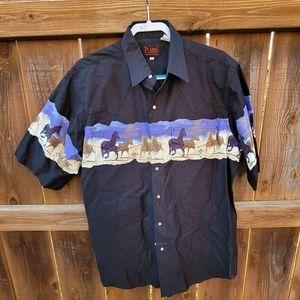 Plains Western Horses Cowboy Pearl Snap Shirt Lar